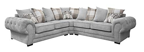 HHI Grey Fabric Corner Couch L Shaped Sofa Settee for Living Room Uk Main Lands