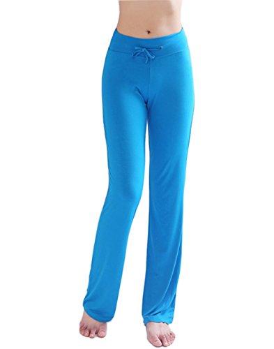 HOEREV Frauen Soft Modal Slimming Hose Yoga Hosen Pyjama-Hose, Blau, XXL
