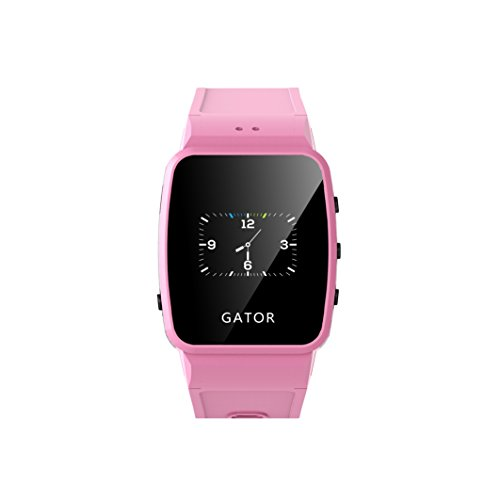 Techsixtyfour - Gator Kids and Seniors Splashproof Smartwatch - GPS and Wi-Fi Tracking - Two-way phone calls Smartwatch with Sim - Wrist Watch for Boys and Girls - UK Sim Only - Pink