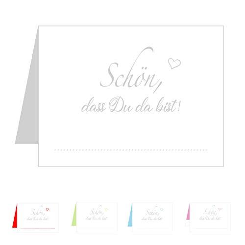 Edition Seidel Set 50 Premium Tischkarten Tischkärtchen Platzkarten Namenskarten Hochzeit - Geburtstag - Taufe - Kommunion - Konfirmation - Firmung - Jugendweihe - Goldene Hochzeit (Grau/Silber)