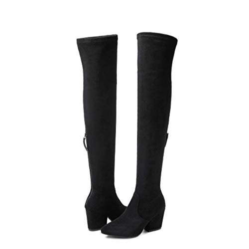 """Women Boots Winter Over Knee Long Boots Fashion Boots Heels Autumn Quality Suede Comfort Square Heels US Size (Black 3""""heel, numeric_8)"""