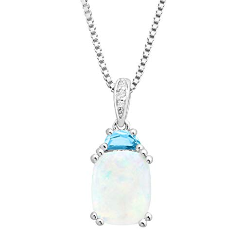 2 1/6 ct Natural Opal & Swiss Blue Topaz Pendant with Diamonds in Sterling Silver, 18