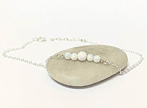 FloweRainboW Armband Damen Boho Fußkette Mit Opal Steinen - Silber, Gold Armbändchen, Armkette Für Frauen