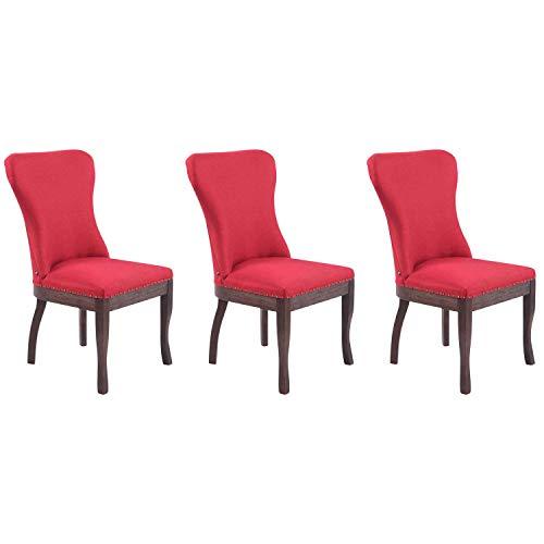 Multistore 2002 Windsor - Lote de 3 sillas de comedor (tela), color rojo