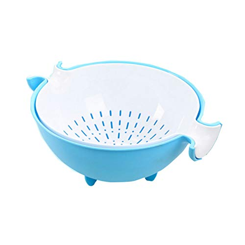 2 in1 Multifunction Kitchen Drain Basket Washing Vegetables Strainer and Bowl Set Double Layered Rotatable Drain Basin and Basket for Fruits and Vegetables Blue 1pc