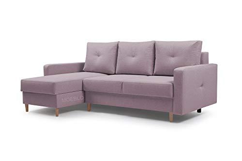 Ecksofa mit Schlaffunktion Eckcouch mit 2 X Bettkasten Sofa Couch L-Form Polsterecke Madison (Rosa, Ecksofa Links)