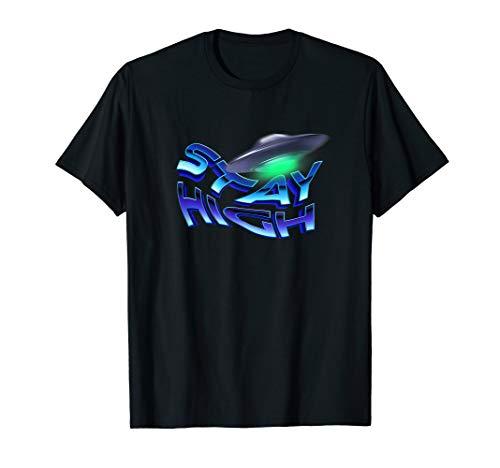 Stay High Ufo Shirt 80s Vaporwave Art RIP Retro T-Shirt