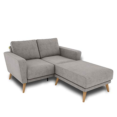 KAUTSCH Lotta Zweisitzer Sofa für Wohnzimmer zerlegbar - Couch 2-Sitzer - Polstersofa - B 144 cm - Longchair rechts - Stahlgrau - Holzfüße aus Eiche