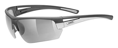 uvex Unisex– Erwachsene, gravic Sportbrille, inkl. Wechselscheiben, grey mat/silver, one size