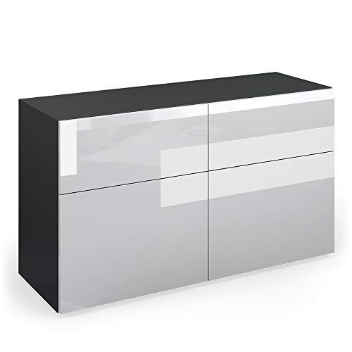 Vicco Sideboard Compo Highboard Anrichte Kommode Mehrzweckschrank (anthrazit/weiß Hochglanz)