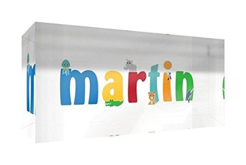Little Helper recuerdo decorativo de acrílico transparente pulido como diamante estilo illustratif pintado con el nombre de joven niño Martin 5x 21x 2cm gran