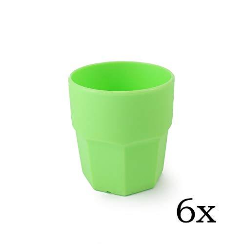 cartaffini – Gobelet eau en plastique, polypropylène (PP), capacité 25 cl, forme octogonale – Lot de 6 pièces – Couleur : Vert