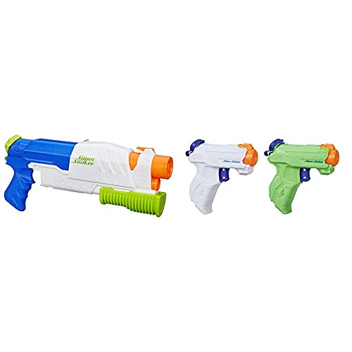 Nerf Super Soaker A5832EU4- Scatter Blast, Wasserpistole & Hasbro E2155EU4 - Super Soaker ZipFire Wasserspritzpistole, 2er Pack