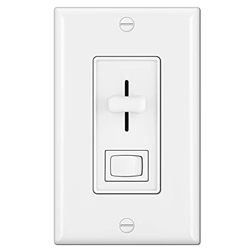 BESTTEN Dimmer Light Switch for Dimmable LED, Halogen and Incandescent Bulbs, Single-Pole or 3-Way, Vertical Slider, On/Off Rocker Switch, UL Listed, White