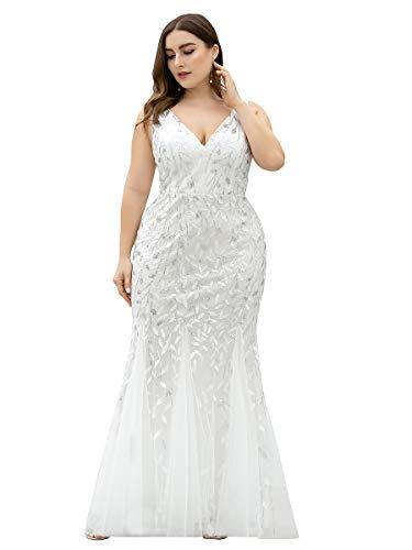 Ever-Pretty Vestito da Sposa con Paillettes Taglie Forti Sirena Scollo a V Lungo Donna Bianca 54