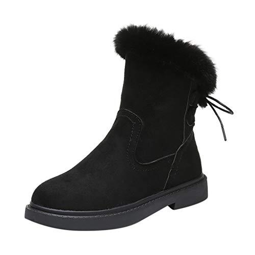 Routinfly Damen Schuhe Freizeitschuhe Warme Plüschstiefeletten Schnee Stiefel Kreuz schnüren Sich Oben Winter Stiefel (Schwarz, 35.5 EU)