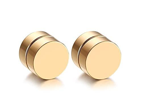 SMEJS Hombres Mujeres Acero Inoxidable Magnético Clip No Perforante en Pendiente Color Dorado