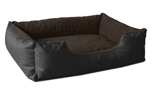 BedDog® Hundebett LUPI, Hundesofa aus Cordura, Microfaser-Velours, waschbares Hundebett mit Rand, Hundekissen Vier-eckig, für drinnen, draußen, XL, Black-Field, schwarz-braun