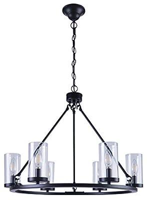 Homenovo Lighting 6-Light Wagon Wheel Chandelier with Glass Shade, Matte Black Finish