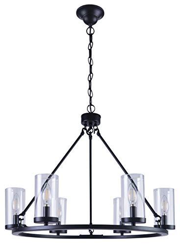 Homenovo Lighting 6-Light Wagon Wheel Black Modern Chandelier with Glass Shade