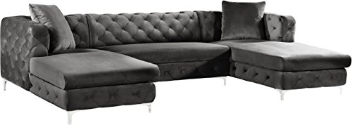 Meridian Furniture Gail Collection Modern | Contemporary Velvet Upholstered 3 Piece Sectional with Deep Button Tufting in a Rich Chrome Finish, Grey, 127' W x 69.5' D x 30.5' H