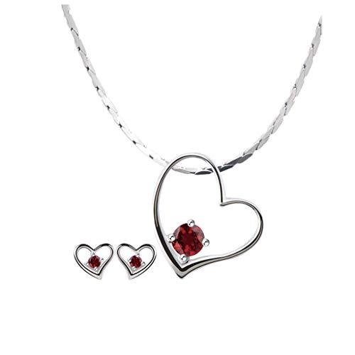 Collares Mujer Pendientes Collar del Amor del corazón del Colgante señoras de Plata esterlina Amatista clavícula Cadena del Collar púrpura Pareja Collares Colgantes (Color : A)