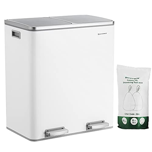SONGMICS Dual Rubbish Bin, 2 x 30L Recycling Bin, Metal Pedal Bin, with Dual Compartments, Plastic Inner Buckets and Hinged Lids, Handles, Soft Closure, Airtight, White LTB60WT