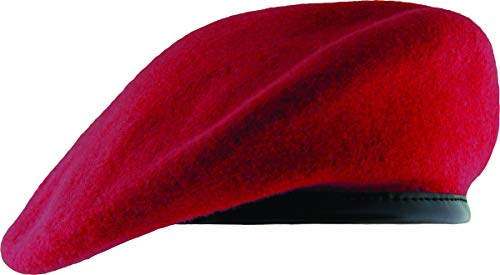 Unlined Beret with Leather Sweatband (6 7/8, Scarlet)
