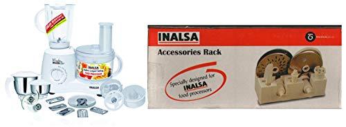 Inalsa Food Processor Wonder Maxie Plus V2 700 - Watt with Blender Jar, Dry Grinding Jar, Chutney Ja & Maxie Premia Accessories Rack (Beige) Combo