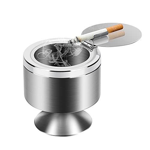 Outdoor Ashtray with Lid for Cigarettes,Home Ashtrays Tabletop Smokeless Covered Ashtray,Cigarette Ash Tray for Outdoor or Outside Use,Suitable for Patio & Office Decoration(Silver)
