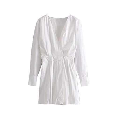 NVDKHXG Stijlvolle V-hals witte jurk Dames Lente Lange mouw Casual Effen katoenen jurk Dames Werkkleding Elegante mini-jurken