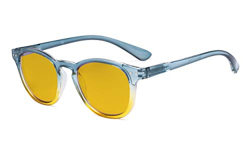 Eyekepper Ladies Blue Light Blocking Reading Glasses with Amber Tinted Filter Lens - Gradient Frame Computer Readers Women - Blue-Yellow Frame +1.50