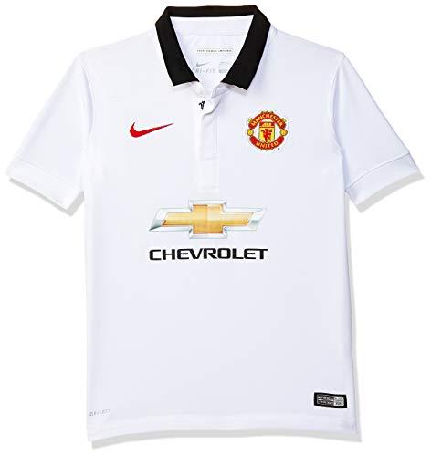 Nike Jungen kurzärmliges Shirt Manu Away Stadium, Herren, Football White/Black/Diablo Red, 147-158 cm, 12-13 ans, L