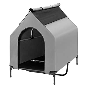Elevated Dog House, Portable Dog House Crate for Indoor & Outdoor, Water Resistant Breathable 600D PVC W/ 2×1 Textilene Bed & 1×1 Textilene Window, Easy to Assemble, Extra Carrying Bag (EXTRA LARGE)