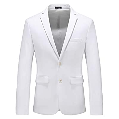 MOGU Mens Suit Jacket Slim Fit Single Breasted Two Button 10 Colors US 42 Asian 5XL White by