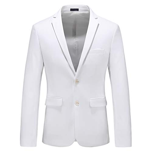 MOGU Mens Suit Jacket Slim Fit Single Breasted Two Button 10 Colors US 42 Asian 5XL White