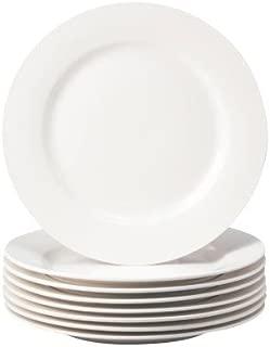 Thompson Pottery 8 Piece Basic Dinner Plates, White