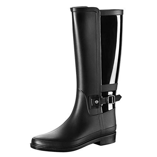 YJxiaobaozi Regenlaarzen Voor Vrouwen Mode Waterdichte Regenlaarzen Water Winter Zwart Knie-Hoge Ronde Teen Regenlaarzen Warm Schoen Niet-lip Wellington Laarzen