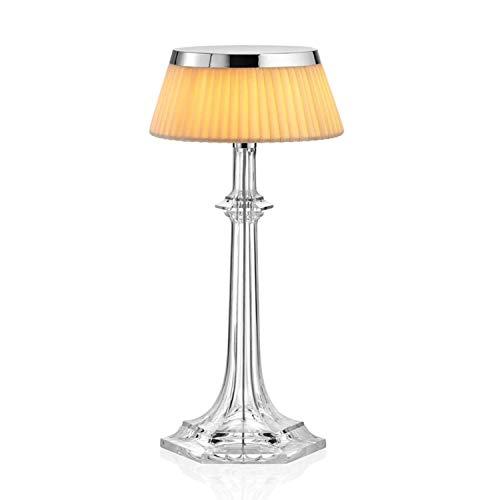Lámpara de mesa pequeña con luz difusa de la colección Bonjour Versailles, 3,5W, 13,2 x 13,2 x 27,2 centímetros, color cromo (referencia: F1042057)