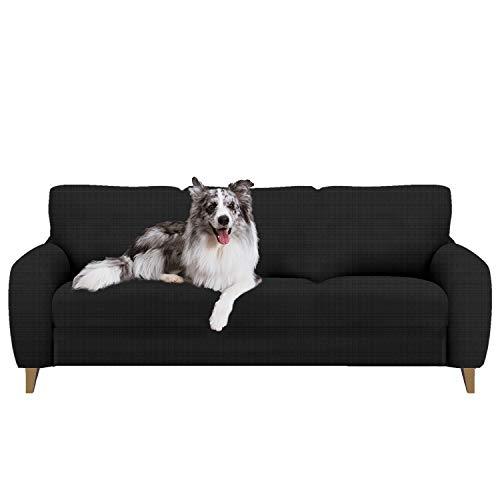 softan Sofabezug Sofa Überwürfe Elastische Stretch Spandex Stoff Sofaschoner Sofa Abdeckung, Schwarz, 3-sitzer