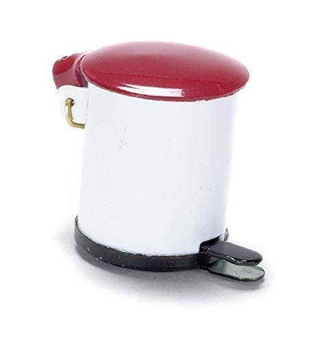 Melody Jane Cuisine Maison Poupées Miniature Accessoire Rouge & Blanc Poubelle à Pédale 057