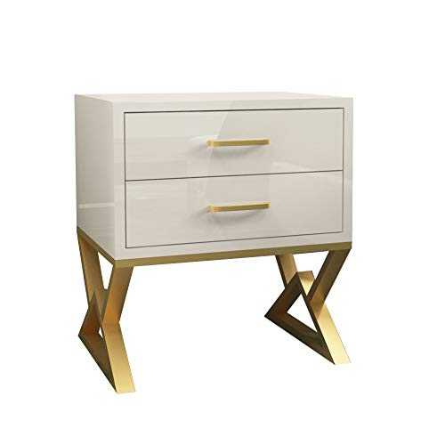 JJZXD Modern Iron Casting Golden Nightstand Coffee End Bedside Table Home Furniture Nightstand Cabinet Cupboard Bed Room