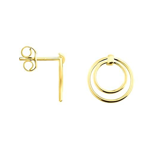 DIAMALA Pendientes para mujer de oro 375 (9 quilates), oro amarillo con diseño de doble círculo - DI20006
