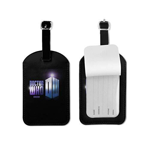 Do-ctor W-ho etiqueta de equipaje con tarjeta de identificación de nombre colorido seguro maleta de viaje etiqueta de equipaje etiquetas de microfibra cuero PU 2.7* 4.3 pulgadas