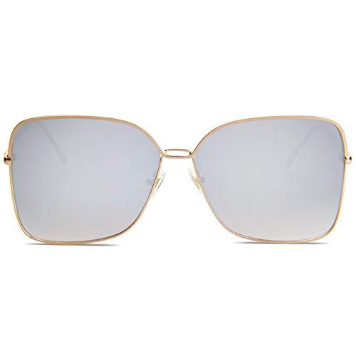 SOJOS Gafas De Sol Para Mujer Moda Cuadrado Oversized Lente Plano Marco Metal SJ1082 Con Marco Dorado/Lente Espejo Plateado