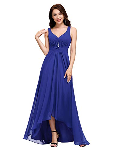Ever-Pretty Scollo V Abito da Sera Donna Lunga High-Low Chiffon Impero Vestito da Sposa Blu Zaffiro 42EU