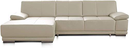 CAVADORE Eckcouch Corianne / Modernes Leder-Sofa mit verstellbaren Armlehnen und Longchair / 282 x 80 x 162 / Echtleder, weiß