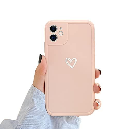 Newseego Compatibile per iPhone 11 Case Silicone (6.1 inch), Carino Heart iPhone 11 Custodia Morbido TPU iPhone 11 Cover per Ragazze Donne Protettivo Custodia in Antiurto Sottile iPhone 11- Rose