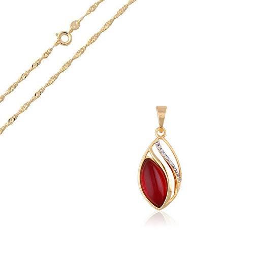 Cadena y colgante de gota de cristal rojo rubí oro amarillo 750 laminado*