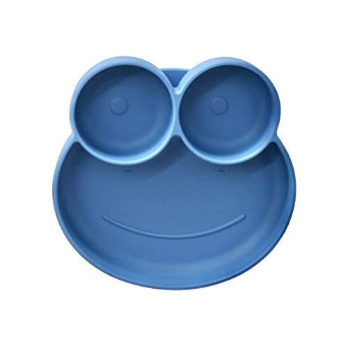 Baby Divided Plate, Silicone Portable Non-Slip Toddler Feeding Plate with Suction Cup for Children Kids & Babies Dinner Plate, Microwave & Dishwasher Safe (Lovely Frog, Baby Blue)